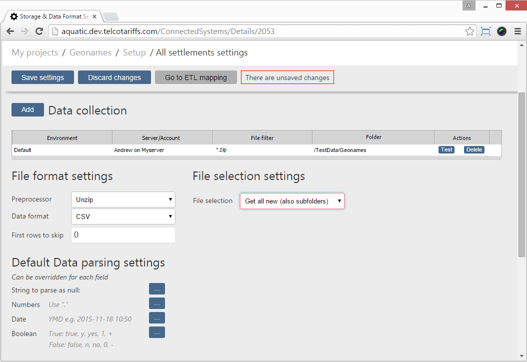 Data collection settings in DataSQUID web GUI